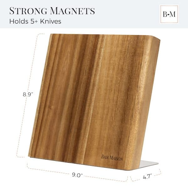 Magnetic Knife Holder Block Wood Acacia 3