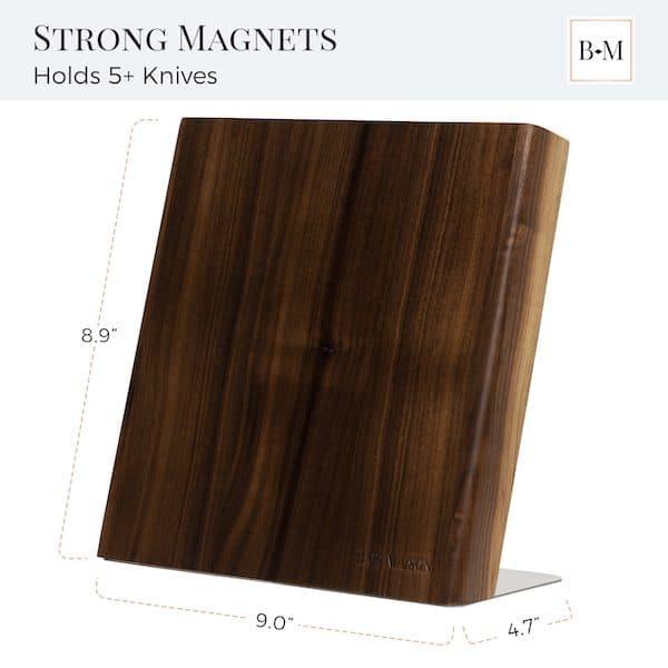 Magnetic Knife Holder Block Wood Walnut 3
