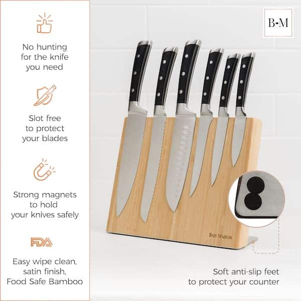 Extra Wide Magnetic Knife Holder Bamboo 4