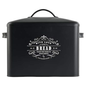 Versailles Large Farmhouse Bread Box Black 1