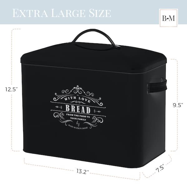 Versailles Large Farmhouse Bread Box Black 3