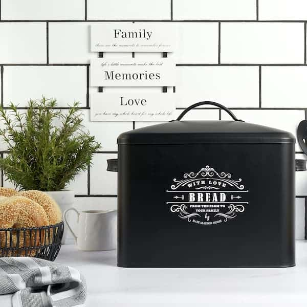 Versailles Large Farmhouse Bread Box Black 6