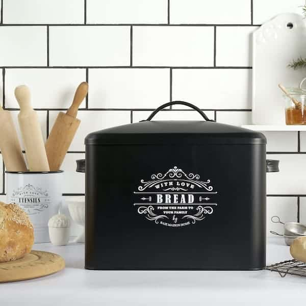 Versailles Large Farmhouse Bread Box Black 7
