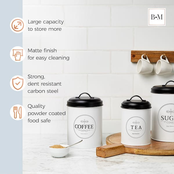 Belleville Modern Farmhouse White Canisters for Kitchen 4