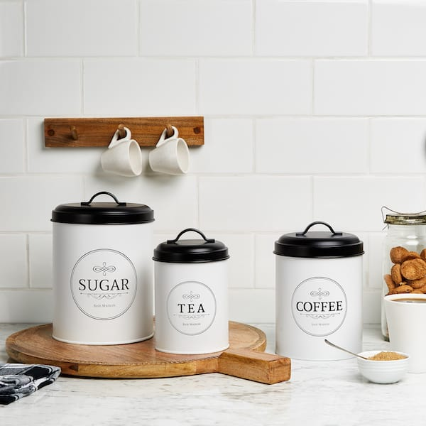 Belleville Modern Farmhouse White Canisters for Kitchen 7