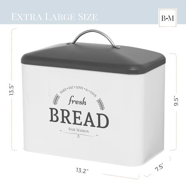 Boston Large Farmhouse Bread Box White 3