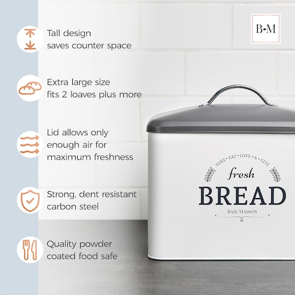 Boston Large Farmhouse Bread Box White 4