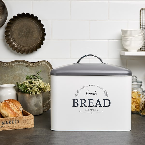 Boston Large Farmhouse Bread Box White 7