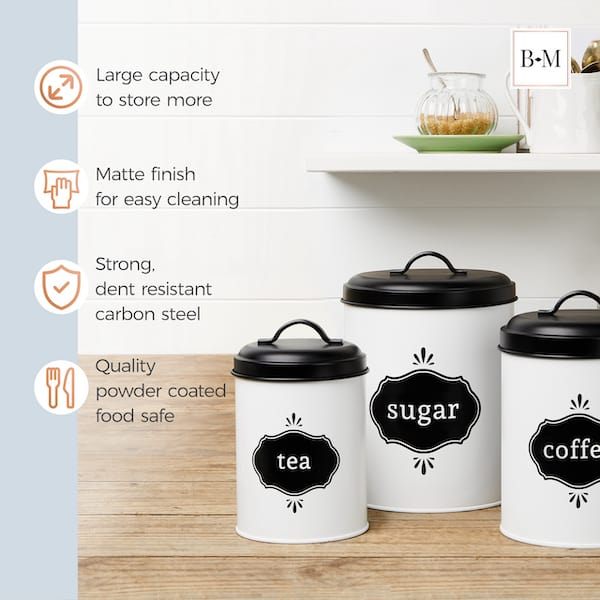 Charlotte Country Farmhouse White Canister Set 4