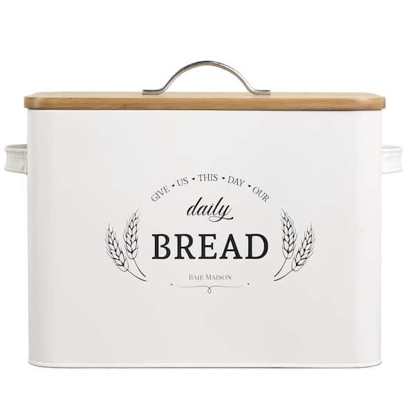 Kansas Large White Country Farmhouse Bread Box Wood Lid 1