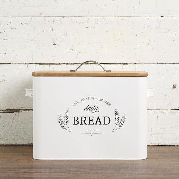 Kansas Large White Country Farmhouse Bread Box Wood Lid 2