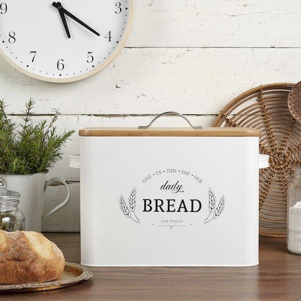 Kansas Large White Country Farmhouse Bread Box Wood Lid 6