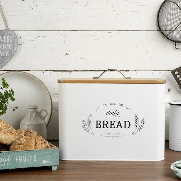 Kansas Large White Country Farmhouse Bread Box Wood Lid 7