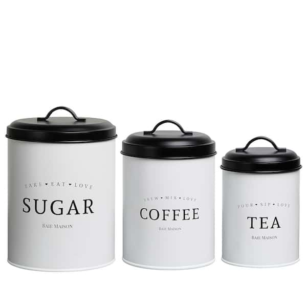 Newport White Farmhouse Canister Set of 3 1