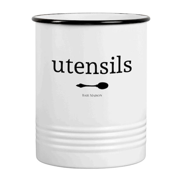 Portland White Utensil Crock for Kitchen Counter 1a