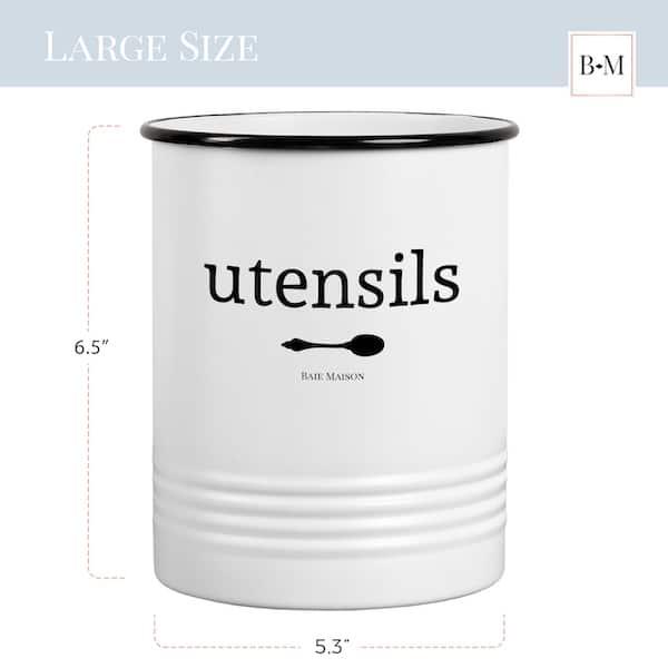 Portland White Utensil Crock for Kitchen Counter 3