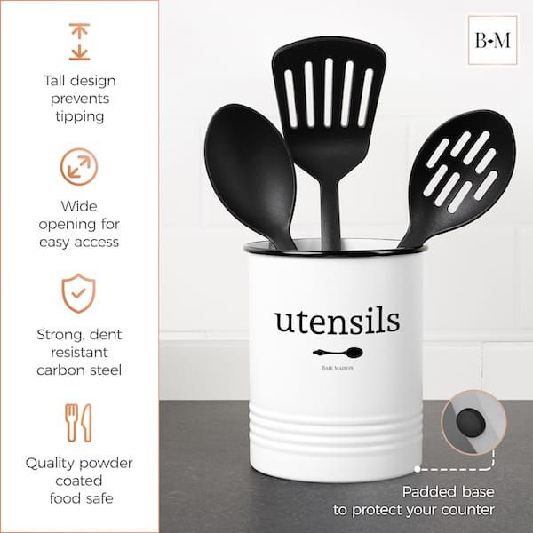 Portland White Utensil Crock for Kitchen Counter 4