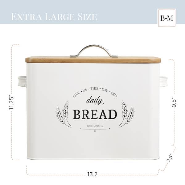Kansas Large White Country Farmhouse Bread Box Wood Lid 3