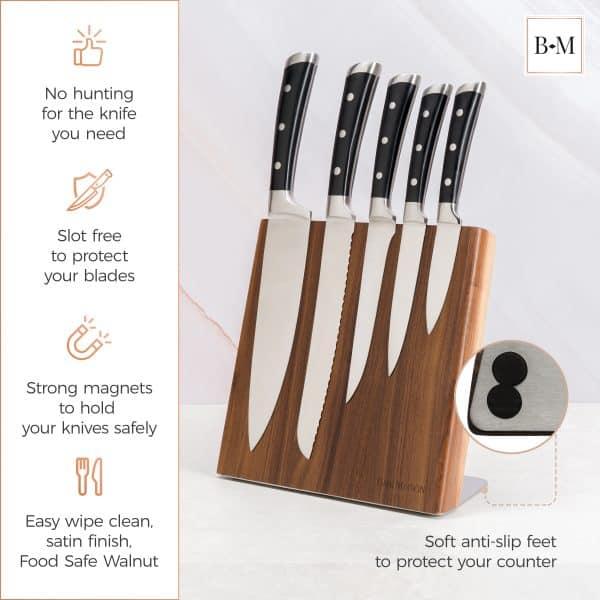 Magnetic Knife Holder Block Wood Walnut 4